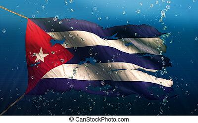 cuba, national, déchiré, eau, drapeau, mer, sous, bulle, 3d