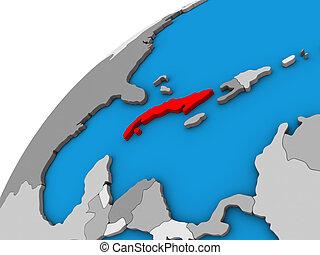 Cuba on 3D globe