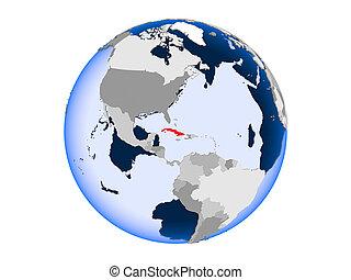 Cuba on globe isolated