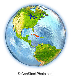 Cuba on isolated globe