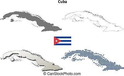 Cuba outline map set