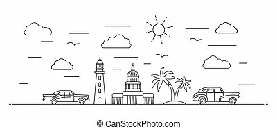 Cuba panorama. Cuba vector illustration in outline style with buildings and city architecture. Welcome to Cuba and Gavana.