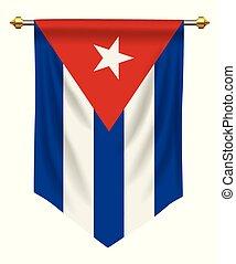 Cuba Pennant - Cuba flag or pennant isolated on white