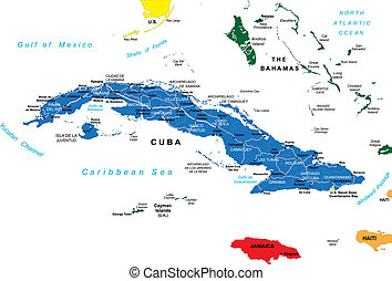 Highly detailed map of Cuba with administrative division, main cities and roads.