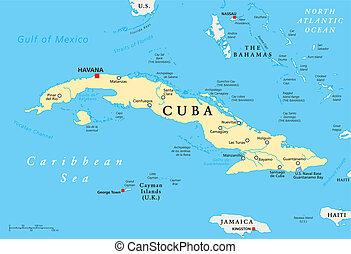 Cuba Political Map with capital Havana, national borders,...