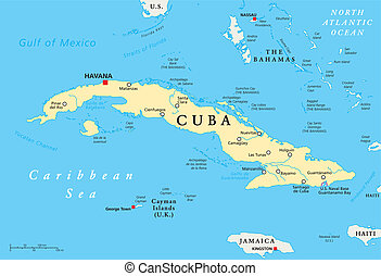 Cuba Political Map with capital Havana, national borders,...
