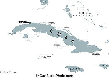 Cuba political map with capital Havana