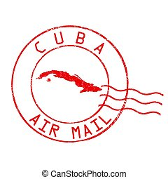 Cuba post office, air mail stamp