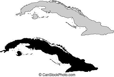 cuba, projection., map., noir, white., mercator