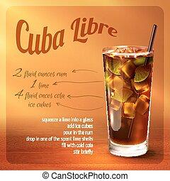 cuba, receta, cóctel, libre