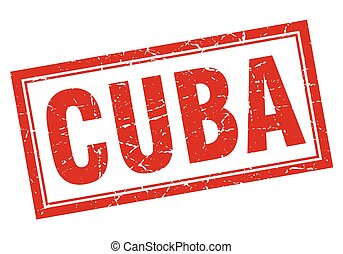 Cuba red square grunge stamp on white