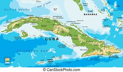 Cuba relief map - Highly detailed physical map of Cuba,in...