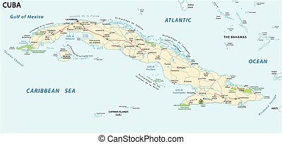 cuba road and national park vector map