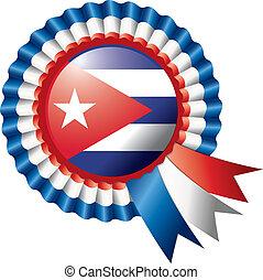 Cuba rosette flag - Cuba detailed silk rosette flag, eps10...