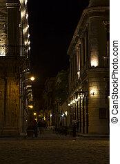 cuba, rue, havane, nuit