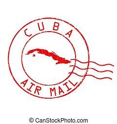 cuba, selo, escritório, correio aéreo, poste