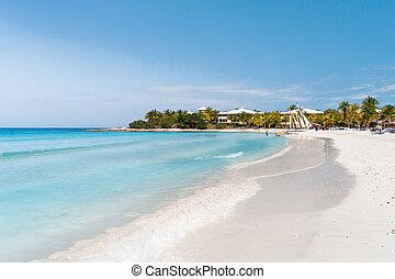 cuba., strand., entspannen, varadero, touristen, sandig