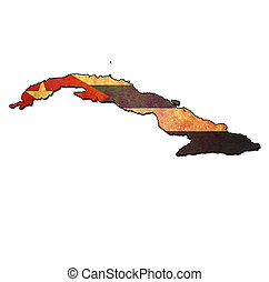 cuba territory with flag - map with flag of cuba with ...