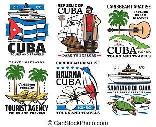 Cuba travel symbols, landmarks, sightseeing tours