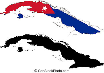cuba - vector map and flag of Cuba with white background.