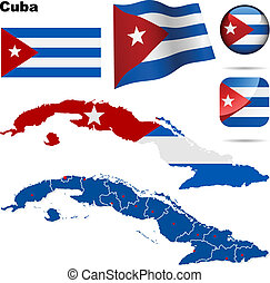 Cuba vector set. Detailed country shape with region borders,...