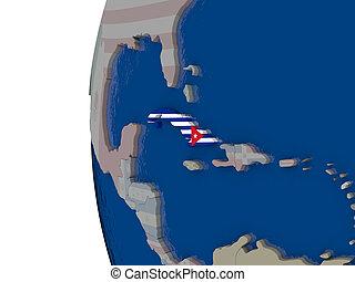 Cuba with national flag