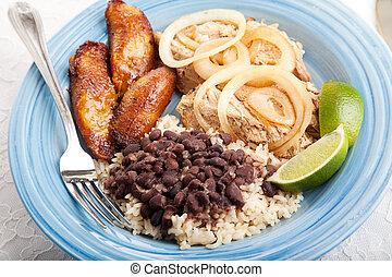 cubaine, dîner, délicieux