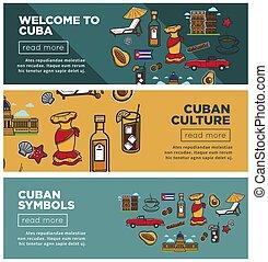 cubaine, ensemble, promotionnel, symboles, culture, internet, bannières