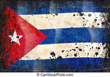 cubaine, grunge, drapeau