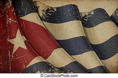 cubaine, papier, vieux, drapeau