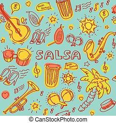 cubaine, paumes, instruments, danse, illustration, musique,...