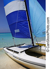 Cuban beach and saling boat