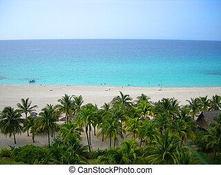 Cuban beach - Overhead view of tropical Varadero beach in...