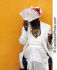 Cuban cigar lady - Portrait of senior afroamerican woman...