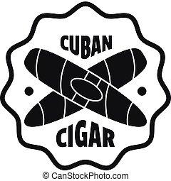 Cuban cigar logo, simple style
