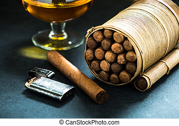 Cuban cigars in natural leafs crafted humidor
