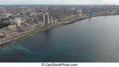 Cuban City Landscape Caribbean Sea Havana Cuba Aerial View -...