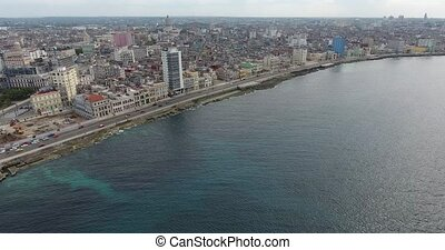 Cuban City Landscape Caribbean Sea Havana Cuba Aerial View