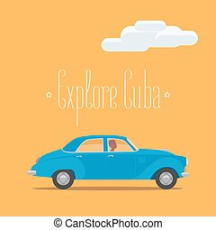Cuban classic retro car vector illustration