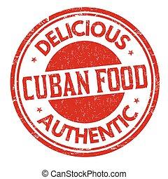 Cuban cuisine grunge rubber stamp