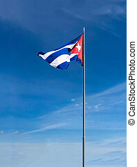 Cuban flag on a blue sky background.