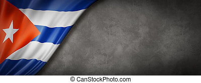 Cuban flag on concrete wall banner