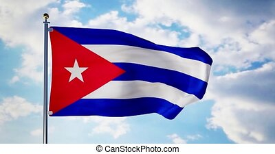 Cuban flag waving in the wind shows cuba symbol of...
