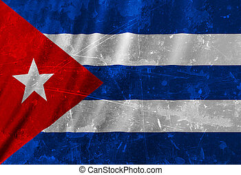 Cuban flag waving in the wind with some folds