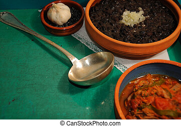 Cuban food - Detail of typical assorted cuban dishes over ...