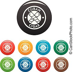 Cuban fresh cigar icons set color