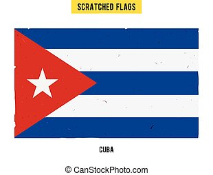 Cuban grunge flag with little scratches on surface. A hand drawn scratched flag of Cuba with a easy grunge texture. Vector modern flat design