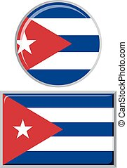 Cuban round and square icon flag.