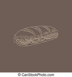 Cuban Sandwich Hand Drawn Sketch - Cuban Sandwich Hand Drawn...