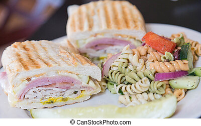 Cuban Sandwich with Pasta Salad - A fresh toasted cuban...